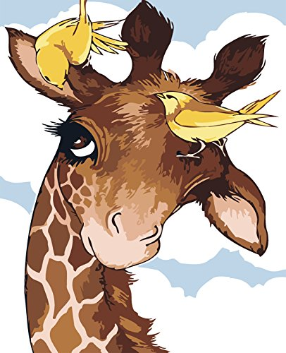 MailingArt Paint By Number Kits For Adults Kids Canvas Painting - Cartoon Animals (Giraffe and Birds)
