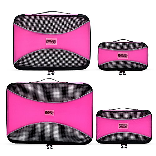 PRO Packing Cubes  Lightweight Travel - Packing for Carry-on Luggage, Suitcase and Backpacking Accessories Set, Bubblegum Pink - 4 Piece