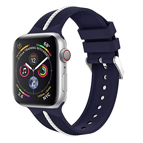 - Cywulin Compatible for Apple Watch Band 42MM 44MM, Soft Silicone Sport Wrist Band Loop Replacement Strap Bracelet Compatible with iWatch Apple Watch Series 4 3 2 1 (42mm/44mm, Navy)