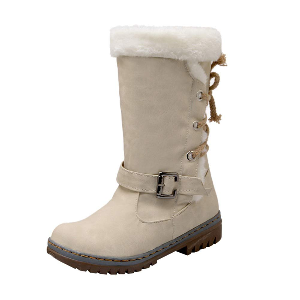 fb4e7461f11f7 Amazon.com: DETAIWIN Womens Winter Snow Boots Fashion Lace Up Buckle ...