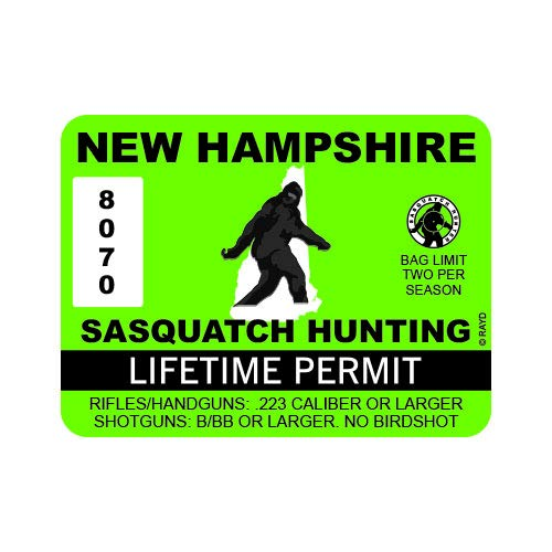 "RDW New Hampshire Sasquatch Hunting Permit - Color Sticker - Decal - Die Cut - Size: 4.00"" x 3.00"""