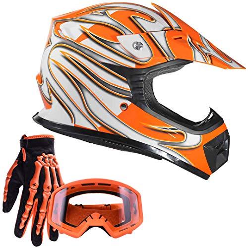 Typhoon Youth Kids Off Road Gear Combo Helmet Gloves and Goggles - Orange (Medium)