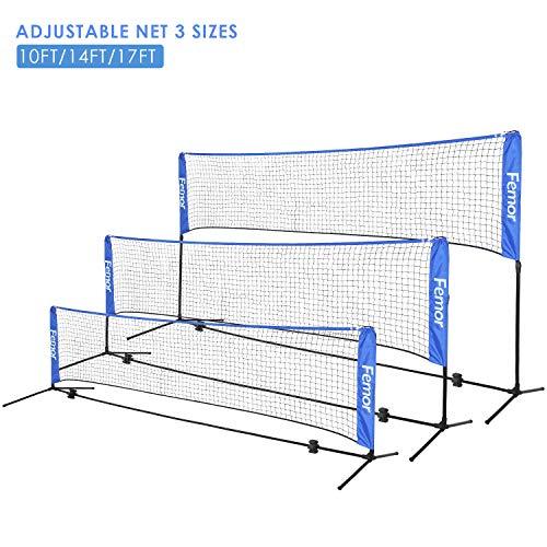 femor Portable Badminton Tennis Net - Adjustable Net for Soccer Tennis, Kids Volleyball, Beach Ball - Sports Net Set for Indoor, Outdoor, Beach, Driveway