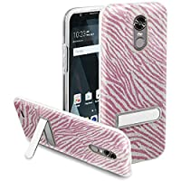 HR Wireless Cell Phone Case for LG Stylo 3 Plus 2017 Slim Hybrid Dual Layer Armor - Hot Pink Zebra