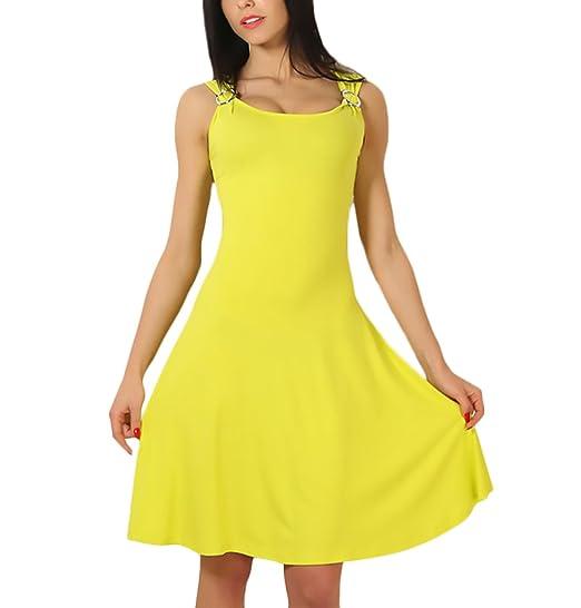 Vestidos Mujer Cortos Verano Sin Mangas Cuello Redondo Slim Fit Vestidos Fiesta Dresses Señoras Años 50