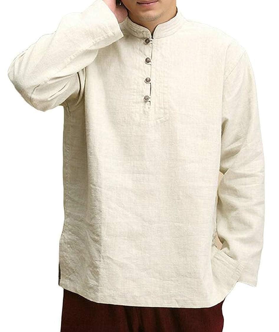 Hajotrawa Mens Stand Collar Solid Casual Long-Sleeve 宽松上衣 Shirts