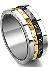 Gold Silvery Black Spinner Stainless Steel Roman Numerals Mens Womens Ring