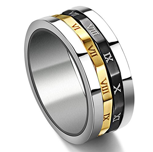 Gold Silvery Black Spinner Stainless Steel Roman Numerals Mens Womens Ring,  Size (Gear Ring)