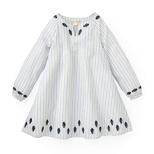 Hope & Henry Girls' White with Blue Stripes Split Neck Embroidered Caftan ()