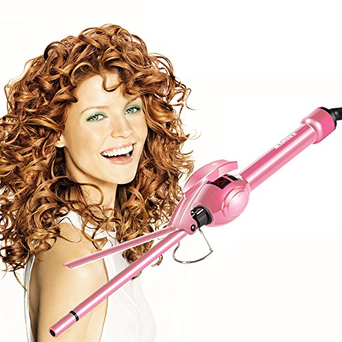 MARSKE Hair Iron, Curling Iron Wand Professional Super Tourmaline Ceramic Barrel Small Slim Tongs for Short and Long Hair (Pink) (Straightener Pink Professional Hair)