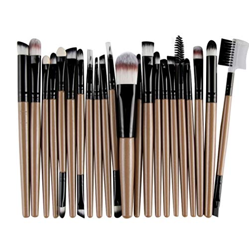 Coffee Blush (22PCS Makeup Brush Set Professional Wooden Handle Premium Synthetic Foundation Blending Blush Concealer Eye Face Liquid Powder Cream Cosmetics Brushes Kit (Coffee))
