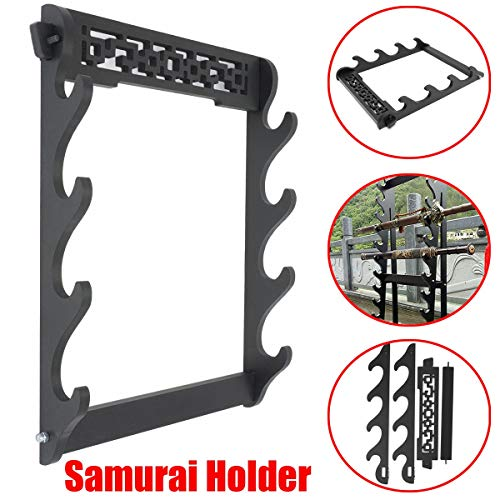 PPH3 Shine 4 Tier Wall Mount Samurai Sword Katana Holder Stand Display Statues Sculptures Holder for Home Decoration Crafts