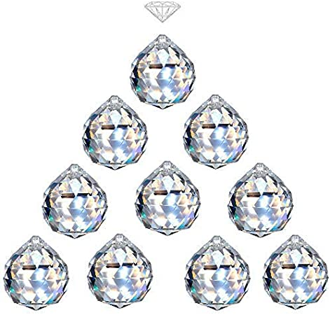 MerryNine Clear TOP K9 Crystal Prism Ball Pendant kit Suncatcher Rainbow Pendants Maker Hanging Crystals Prisms with Beautiful Chain