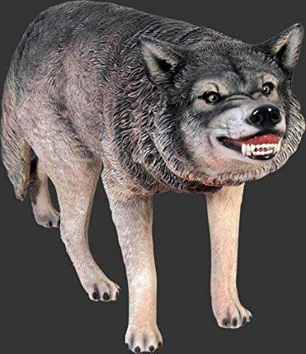 LM Treasures Dog Wild Wolf Growling Animal Prop Life Size Decor Resin Statue by LM Treasures (Image #1)