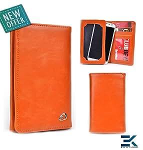 [Unisex] Universal Bifold Phone Wallet fits HTC One VX Case - ORANGE. Bonus Ekatomi Screen Cleaner