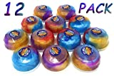 4E's Novelty Pack of 12 Galaxy Putty Slime Gemstone Shaped Containers, Birthday Party Favors Assortment, Slimy Squishy Gooey, Goodie Bag Filler for Kids Boys & Girls