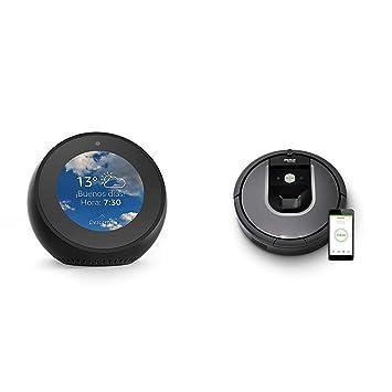 Echo Spot negro + iRobot Roomba 960 - Robot Aspirador Óptimo Mascotas, Succión 5 Veces