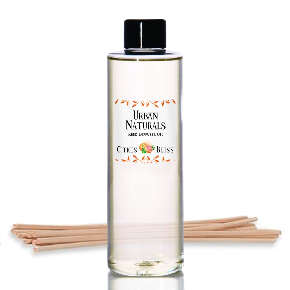 Urban Naturals Citrus Bliss Mandarin & Grapefruit Scented Reed Diffuser Refill & Set Replacement Reed Sticks | Aromatherapy Fresh, Bright Citrus Scent 4 oz.