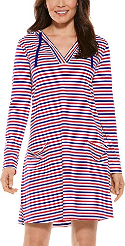 Coolibar UPF 50+ Women's Beach Cover-Up Dress - Sun Protective (X-Large- Red White & Blue Stripe)