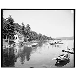 Photo: Boat house,Rogers' Poverty-stricken,piers,wharves,docks,water,Lake George,New York,NY,1900