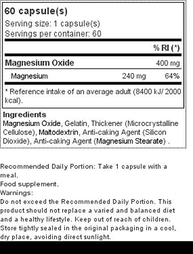 Prozis Óxido de Magnesio - 60 Cápsulas: Amazon.es: Salud y cuidado personal