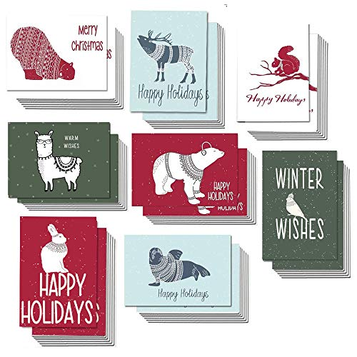 Holiday Cards Happy Holidays 48 Bulk Christmas Greeting Cards with Envelopes, Merry Xmas Happy Holiday Cards in 8 Cute Animals Assortment Design, 4 x 6 Blank on the Inside (Merry Xmas Happy)