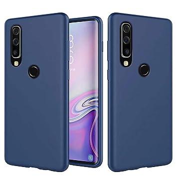 Funda Samsung Galaxy A40 Fanxwu Color Sólido Caso Suave TPU Silicona Cómoda Carcasa Resistente a Los Arañazos Anti-Golpes Protector Case - Azul