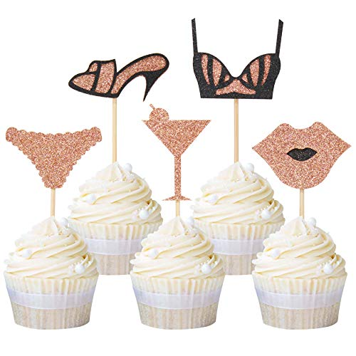 Newqueen High Heel Underpants Bra Lips Cupcake Toppers Glitter Cupcake Topper Food Picks Bachelorette Birthday Party Supplies 20 Pack Rose Gold (Gold High Heel Cake Topper)