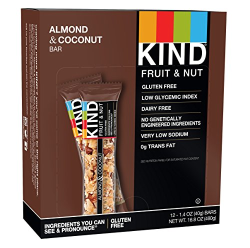 Fruit Energy Bars Box - KIND Bars, Almond & Coconut, Gluten Free, 1.4oz, 12 Count