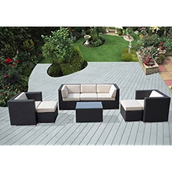 Ohana 8 Piece Outdoor Wicker Patio Furniture Sectional Conversation Set  With Weather Resistant Cushions,