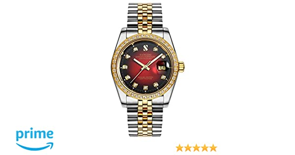 f5831825930 Amazon.com  PASOY Men Automatic Red Face Waterproof Sapphire Diamonds  Srystal Stainless Steel Band Date Watch 40MM  Watches