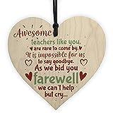 XLD Store Goodbye Teacher Gift Wooden Heart Leaving Gift Teaching Assistant Nursery School Present