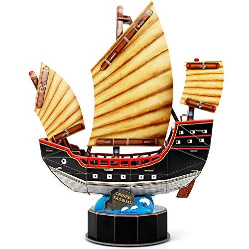 CubicFun T4033h Chinese Sailboat 3D Puzzle Vessel Models, 62 Pieces