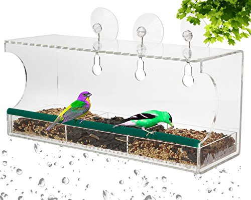 Clear Window Bird Feeder Observation kit | Transparent Nature Viewing Nester Observatory Gazebo, Patio, Deck | Wild Birds Unlimited Feeders Squirrel Proof Scratch Resistant Acrylic by Wealers