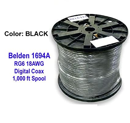 Belden 1694a Hd/sdi 18awg Rg6 Serial Digital Coaxial Cable, Black