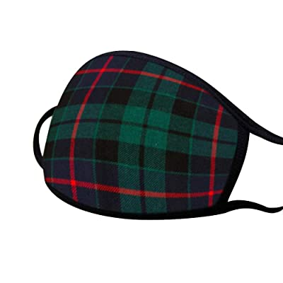 PYL Face Cover Plaid Letter Printed Mouth Cover Protecive Gear Fashion Pattern Accesory for Unisex Adult and Child,6 PCS/Pack Green: Clothing