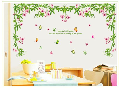 Apexshell (TM) Dream's Garden Quote Green Tree Leaves and Colorful Flowers with Butterfly Removable High quality DIY Decorate Wall Decal Sticker Decor for Kids, Home, Nursery Room, for Children's Bedroom
