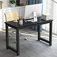 Modern Simple Computer Desk , LITTLE TREE 47 Office Desk Study Writing Desk / Table Workstation for Home Office, Metal Frame (Black + Black Leg)