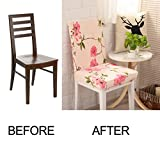 Imported Stretch Short Removable Dining Stool Chair Cover Slipcover Spring Flowers