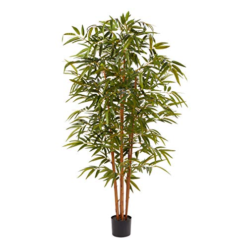 Home Pure Garden 6 Ft. Artificial Bamboo - Tall Faux Potted Indoor Floor Plant for Restaurant or Office Decor - Large and Lifelike (Natural Trunk)