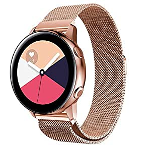 Magnetic Watch Band Mesh Stainless Steel Replacement Belt Strap Metal Bracelet Wrist-Band Smart-Watch Elastic 22mm Strong Magnet Closure Nice Gift for ...