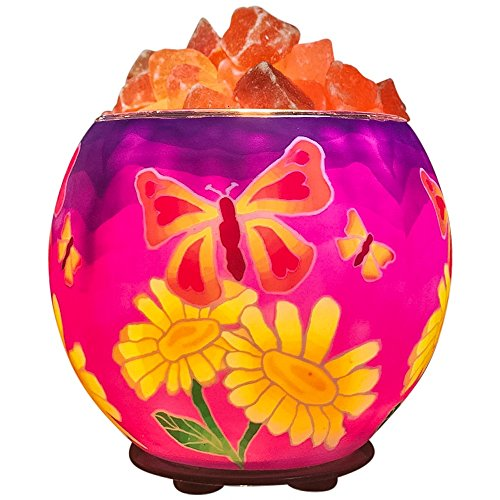 Himalayan CrystalLitez,Natural Himalayan Salt Lamp in A Handcrafted and Unique Artisan Bowl,Natural Air Purifier and Aromatherapy Salt Lamp (Batik Butterfly)