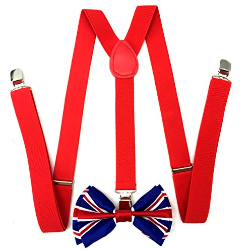 Unique Red Combo - Premium Quality 1 Inch Suspender & 4.5 Inch Bowtie Combo Set, Mens Womens Unisex (Union Jack UK Flag Bowtie with Red Suspenders)