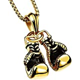 Bluegoog Gothic Punk Style Fashion Jewelry Boxing Gloves Pendant Stainless Steel Necklace for Men Women's (Gold)