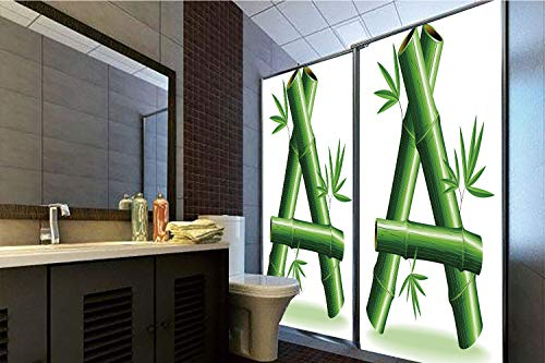 Horrisophie dodo 3D Privacy Window Film No Glue,Letter A,Green Bamboo Style Font First Letter of The Alphabet Nature Inspired Illustration,Green White,70.86