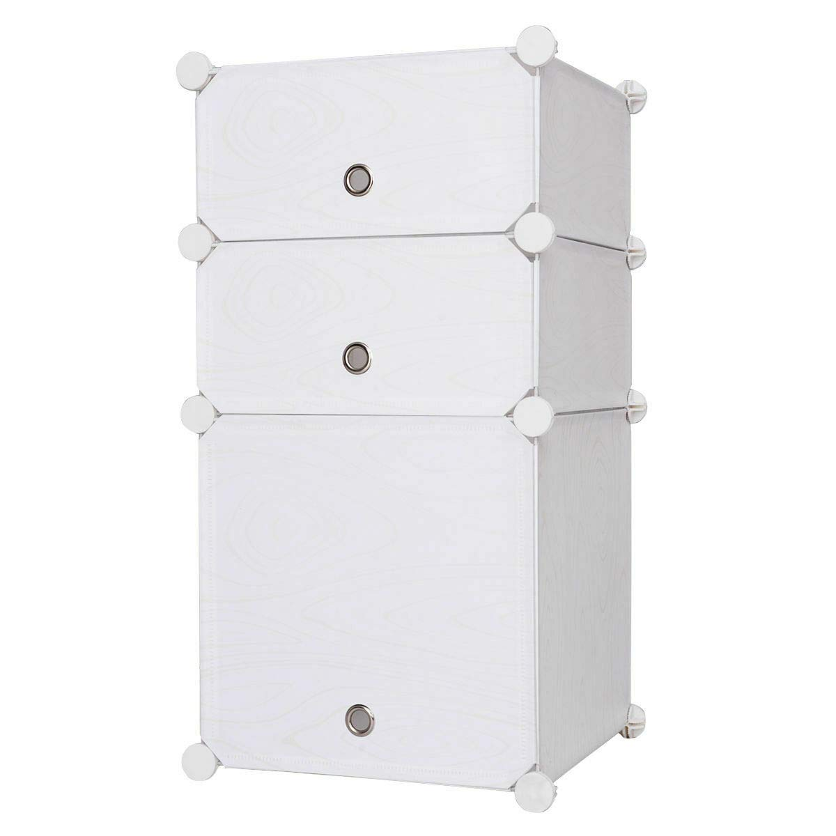 GHP 15.5''x14.5''x29.3'' White PP Plastic Board Living Room 3-Cube Storage Cabinet