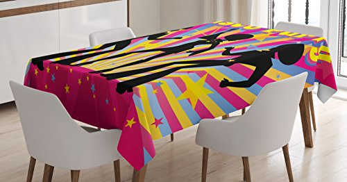 (Ambesonne 70s Party Tablecloth, Dancing People Silhouettes with Afro Hair Disco Party and Funky Display Print, Dining Room Kitchen Rectangular Table Cover, 52