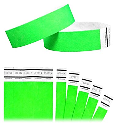 "Goldistock Original Series - 3/4"" Tyvek Wristbands Neon Green - Event Identification Bands (Paper - Like Texture)"