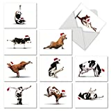M6545XSB Holiday Bovine Nirvana: 10 Assorted Blank Christmas Note Cards Featuring Fun and Flexible Cows Practicing Yoga Poses While Wearing Christmas Hats, w/White Envelopes.