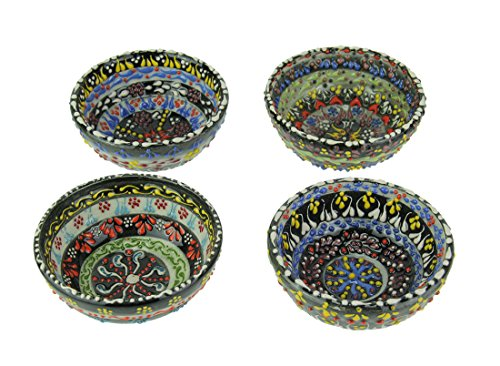 (Ceramic Decorative Bowls Set of 4 Colorful Hand Painted Turkish Lace Ceramic Bowls 3 X 1.25 X 3 Inches Multicolored)